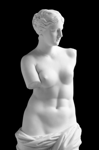 Vintage copy statue of Venus (Aphrodite) de Milo. Vintage-styled fine art image isolated (in camera) on a pure black background. The background can easily be extended to suit your project. Soft lighting with excellent detail. A small amount of grain has been added.