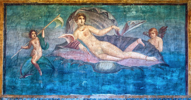 venus fresco in the temple of venus, pompeii, italy - venus стоковые фото и изображения