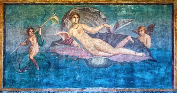 fresque de vénus dans le temple de vénus, pompéi, italie - venus photos et images de collection