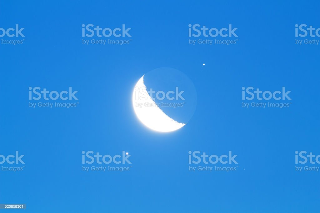 Venus, Moon and Jupiter stock photo