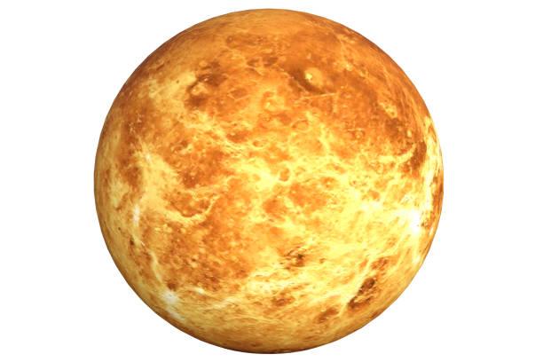 planète vénus isolé sur fond blanc. c'est la deuxième planète du rendu 3d du soleil. - venus photos et images de collection