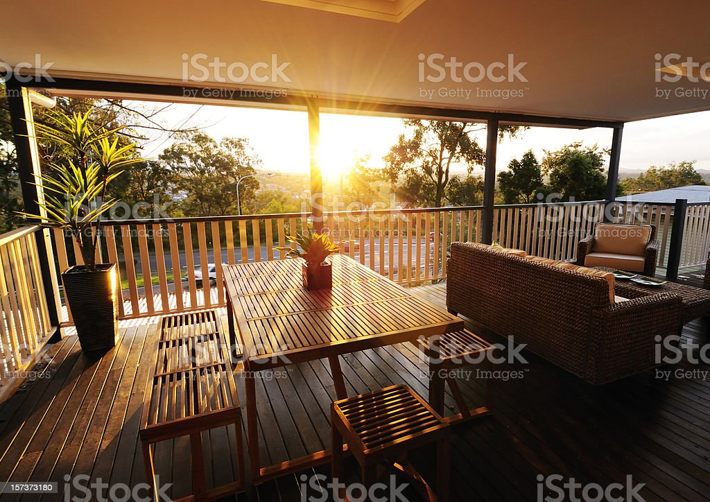 Veranda at sunset stock photo