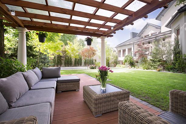 verandah with modern garden furniture - chiosco foto e immagini stock