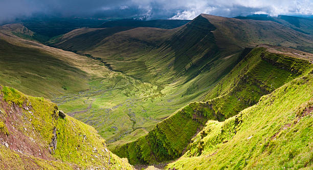 Verdant valleys dramatic escarpments Brecon Beacons Wales UK  south wales stock pictures, royalty-free photos & images