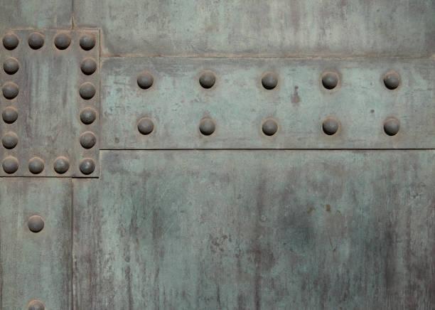 Verdigris Hintergrund mit Nieten – Foto