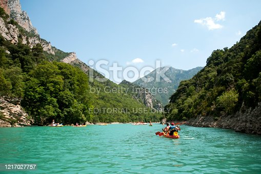 People in boats on St Croix Lake, Verdon Gorge, Provence, France - July 14, 2018