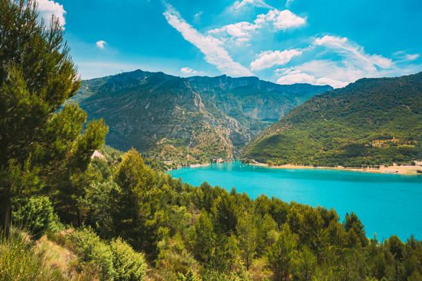 Verdon Gorge, Lake of Sainte-Croix, France. South-eastern France. Provence-Alpes-Cote d'Azur stock photo