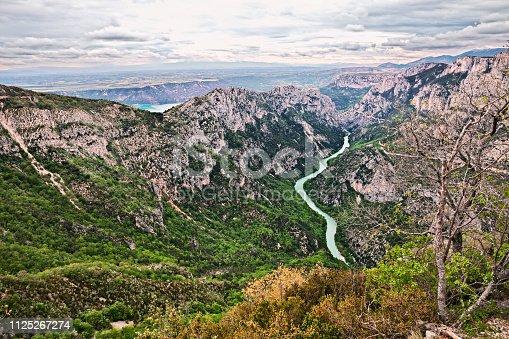 Aiguines, Var, Provence, France: landscape of the mountains and river in the nature park Gorges du Verdon