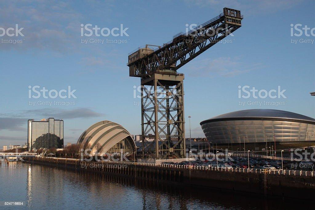 Vergangenheit und Zukunft am Clyde in Glasgow stock photo