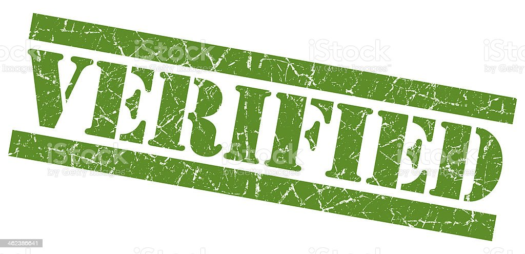Verified green grunge stamp stock photo
