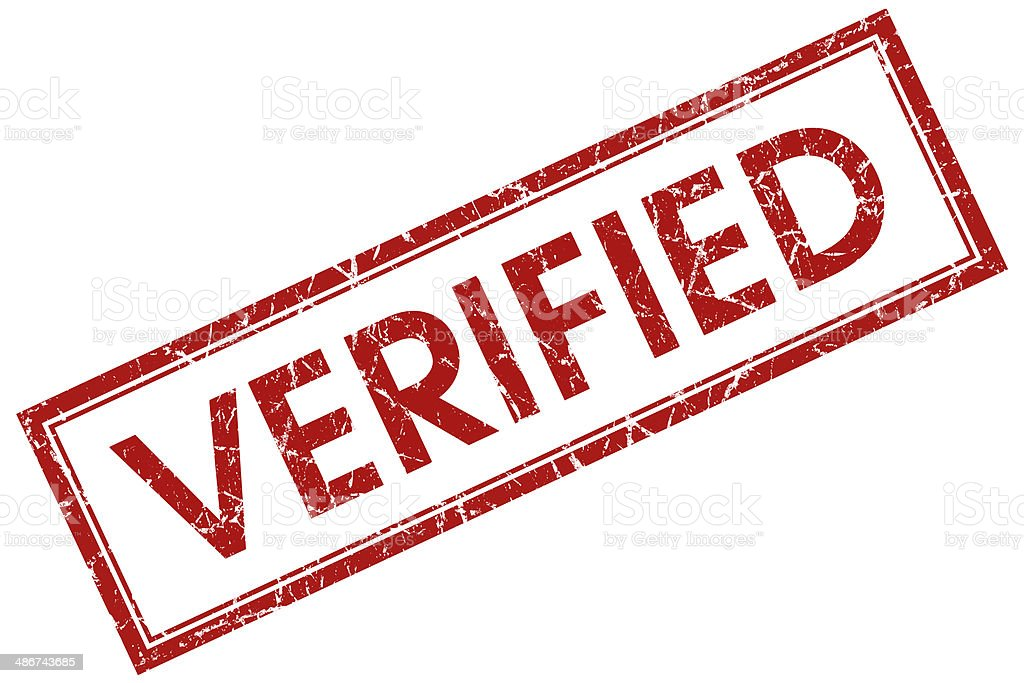 verified red square  stamp stock photo