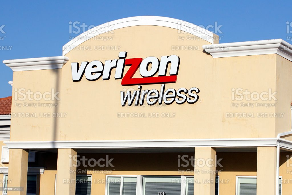 Verizon Wireless Sign and Upper Storefront stock photo