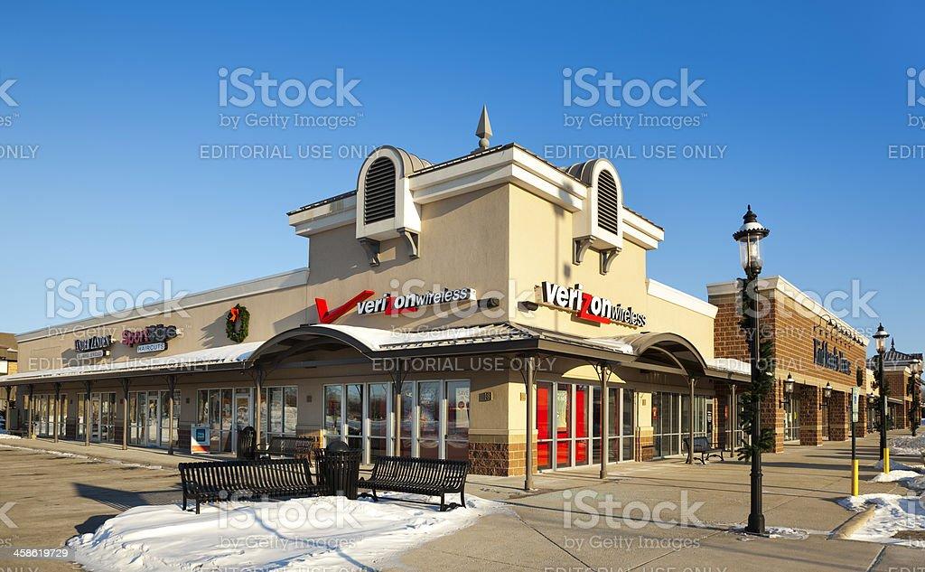 Verizon Wireless Store in Modern Strip Mall stock photo