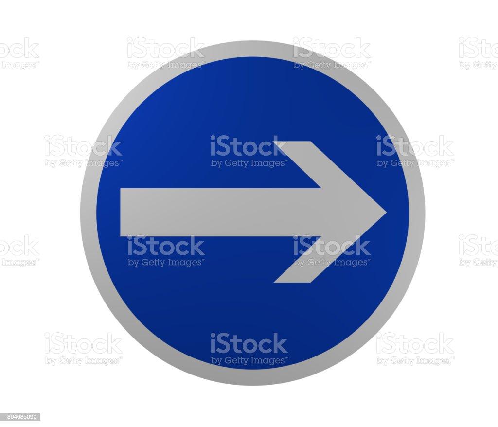 Verkehrszeichen: Vorgeschriebene Fahrtrichtung, Hier rechts – Foto