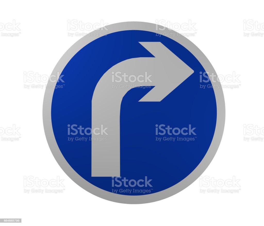 Verkehrszeichen: Vorgeschriebene Fahrtrichtung, Rechts. – Foto