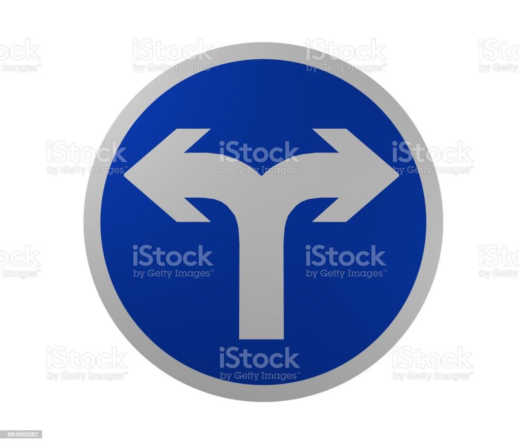 Verkehrszeichen: Vorgeschriebene Fahrtrichtung, Rechts Und Links. – Foto