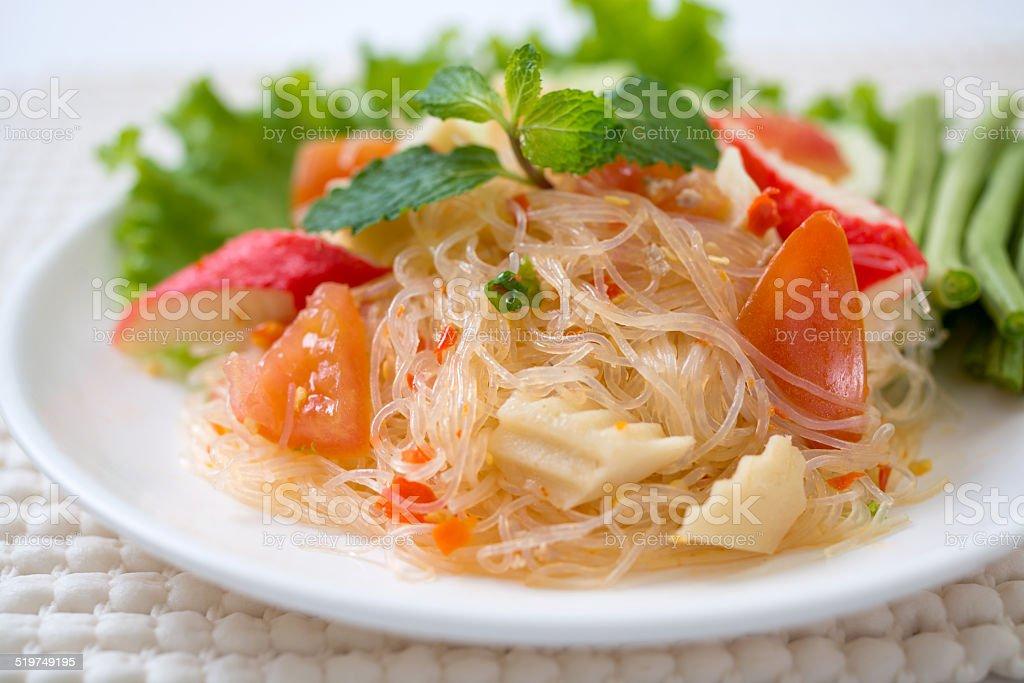 vermicelli salad,Thailand food noodle salad,and spisy salad stock photo