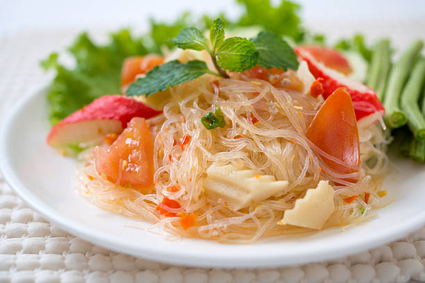 vermicelli salad,Thailand food noodle salad,and spisy salad stock photo