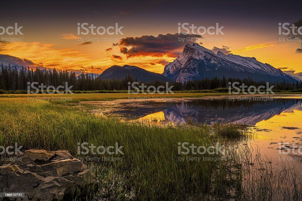 Vermillion Lakes Sunrise near Banff stock photo