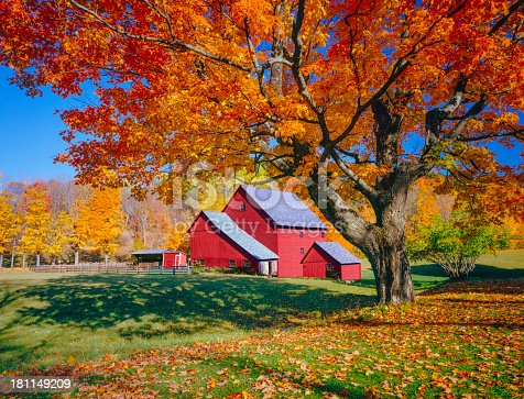 istock Vermont autumn with rustic barn 181149209