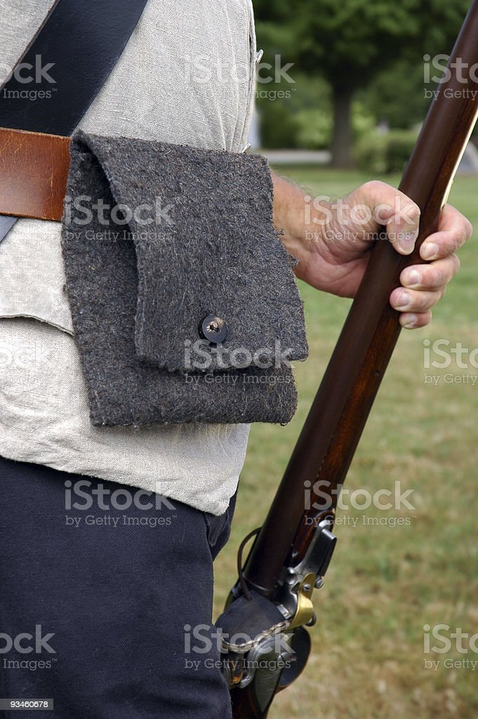 Vermont Colonial Soldier Re-Enactor Holding Musket royalty-free stock photo