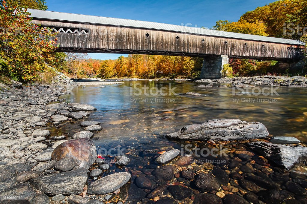 Vermont Covered Bridge in Autumn stock photo