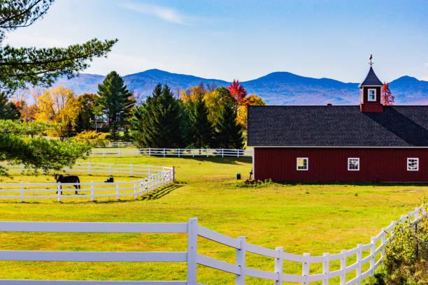 Vermont farm in autumn stock photo