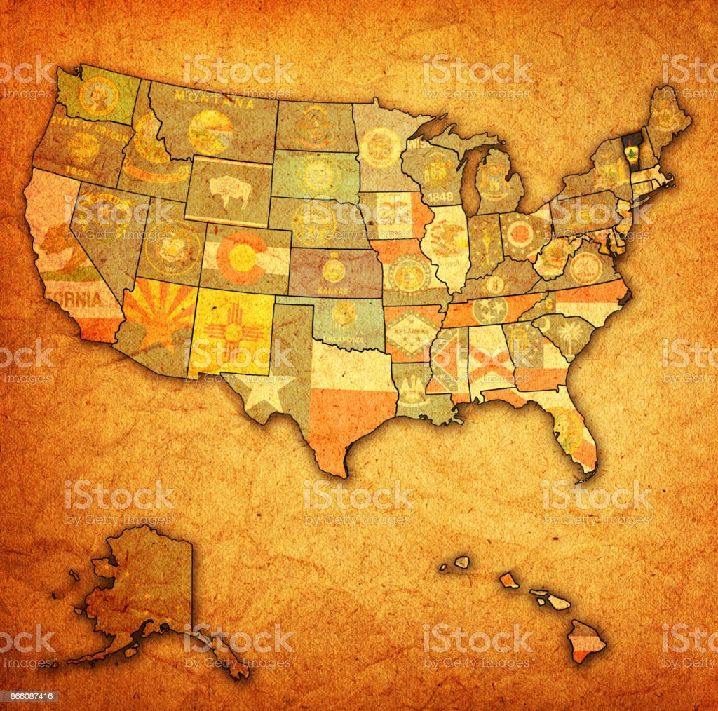 Map Of America Vermont.Vermont Flag On Old Vintage Map Of United States Of America Stock