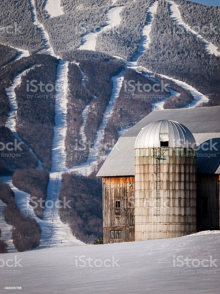 Vermont Mountain Ski Runs with Old Barn stock photo