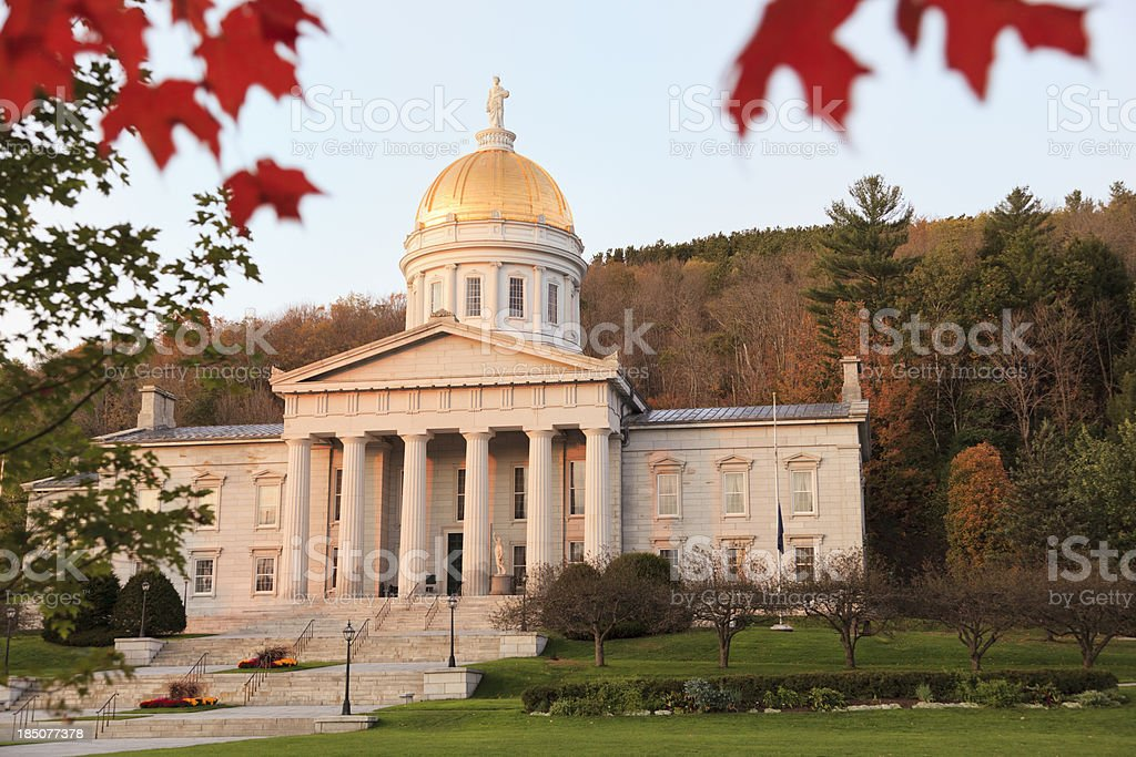Vermont state capitol building at sunset, Montpelier stock photo