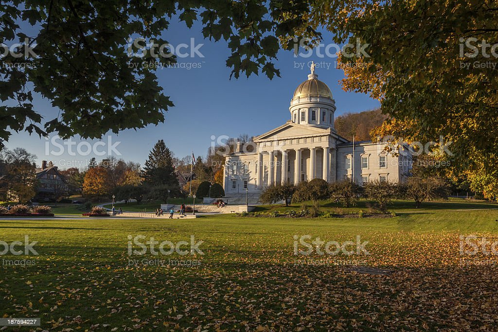Vermont State Capitol in autumn stock photo