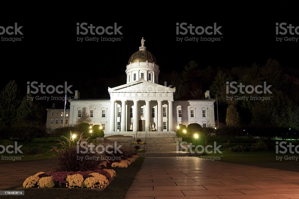 Vermont State House at Night in Autumn stock photo