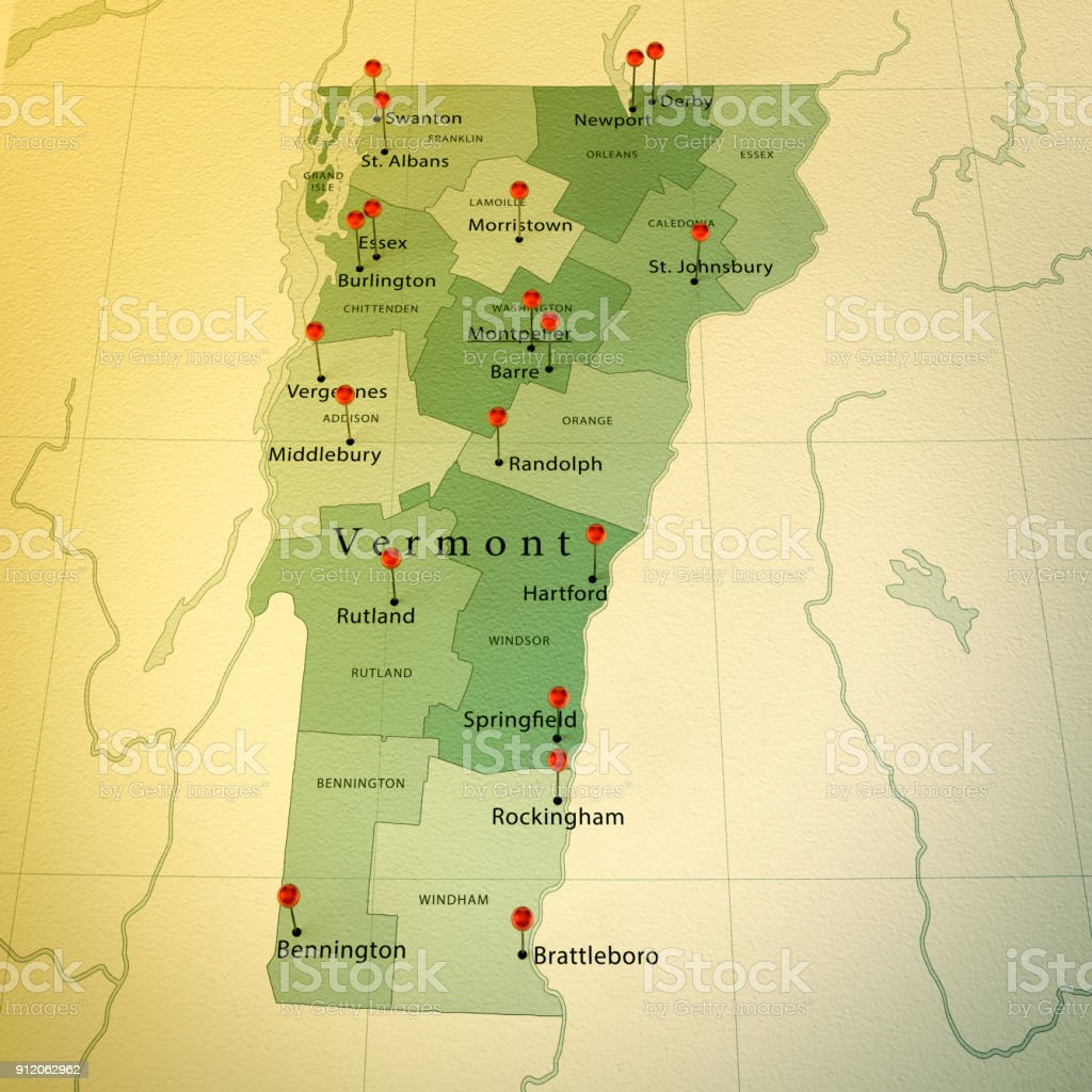 Vermont State Map Square Cities Straight Pin Vintage Stock Photo ...