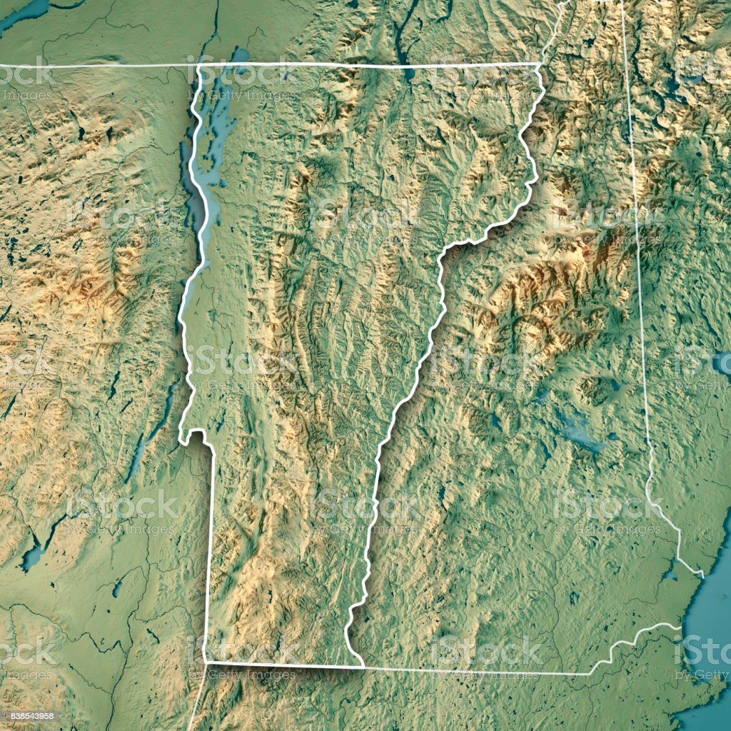 Vermont State USA 3D Render Topographic Map Border stock photo