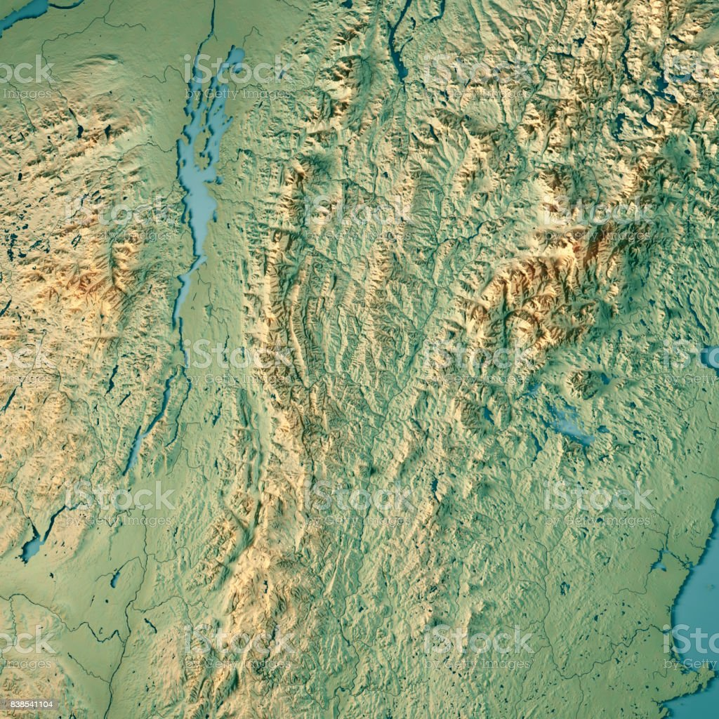Vermont State USA 3D Render Topographic Map stock photo