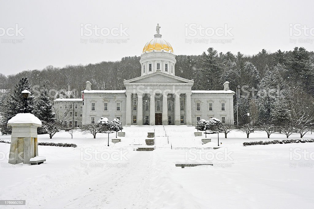 "Vermont Statehouse in Winter ""The Vermont Statehouse in February, surrounded by snow."" Architectural Dome Stock Photo"