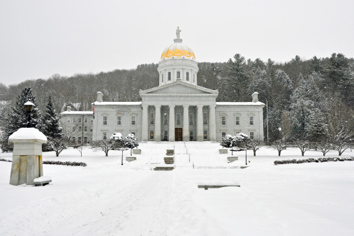 Vermont Statehouse In Winter Stock Photo - Download Image Now