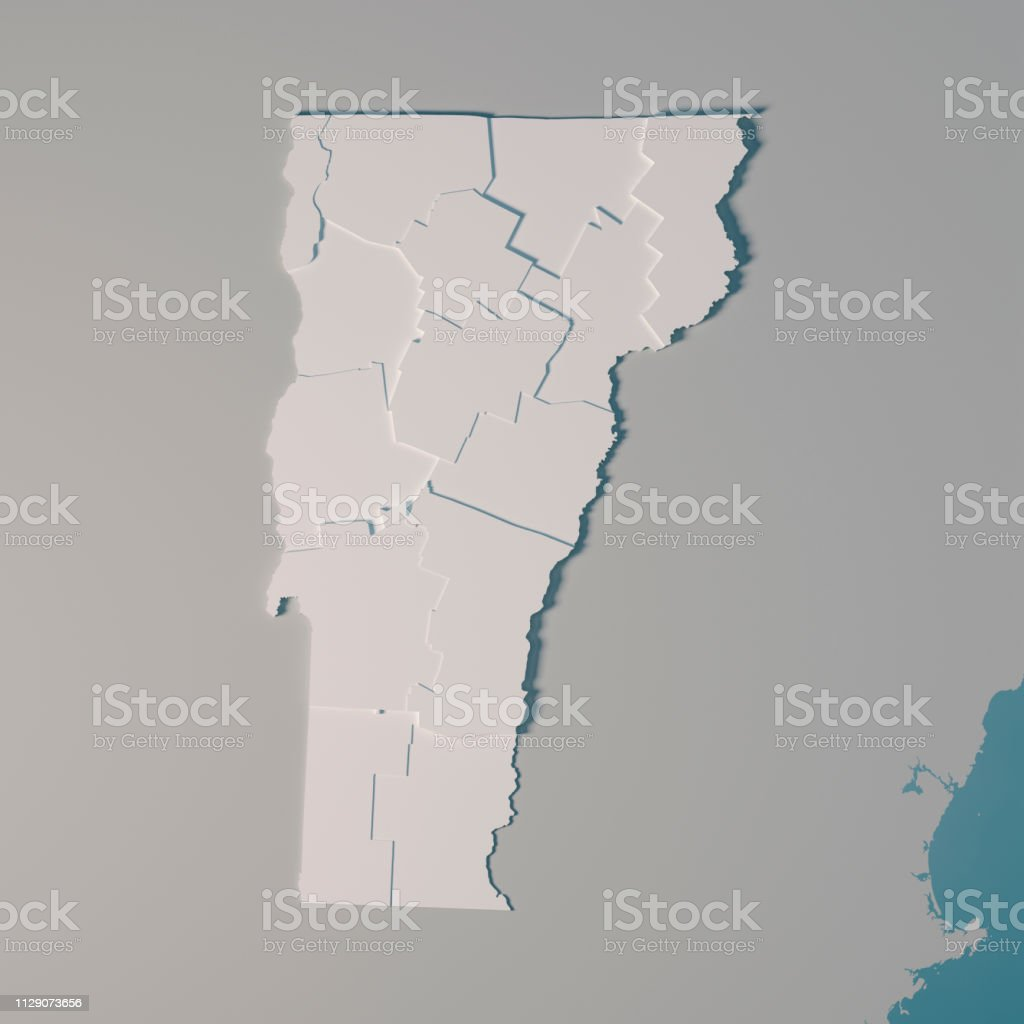 Vermont Us State Map Administrative Divisions Counties 3d ...