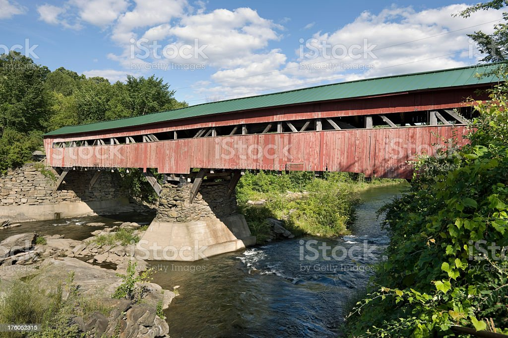 Vermont USA Antique Covered Bridge stock photo