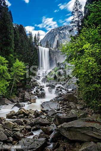 Vernal Fall and Liberty Cap in Yosemite Park, long exposure photo.