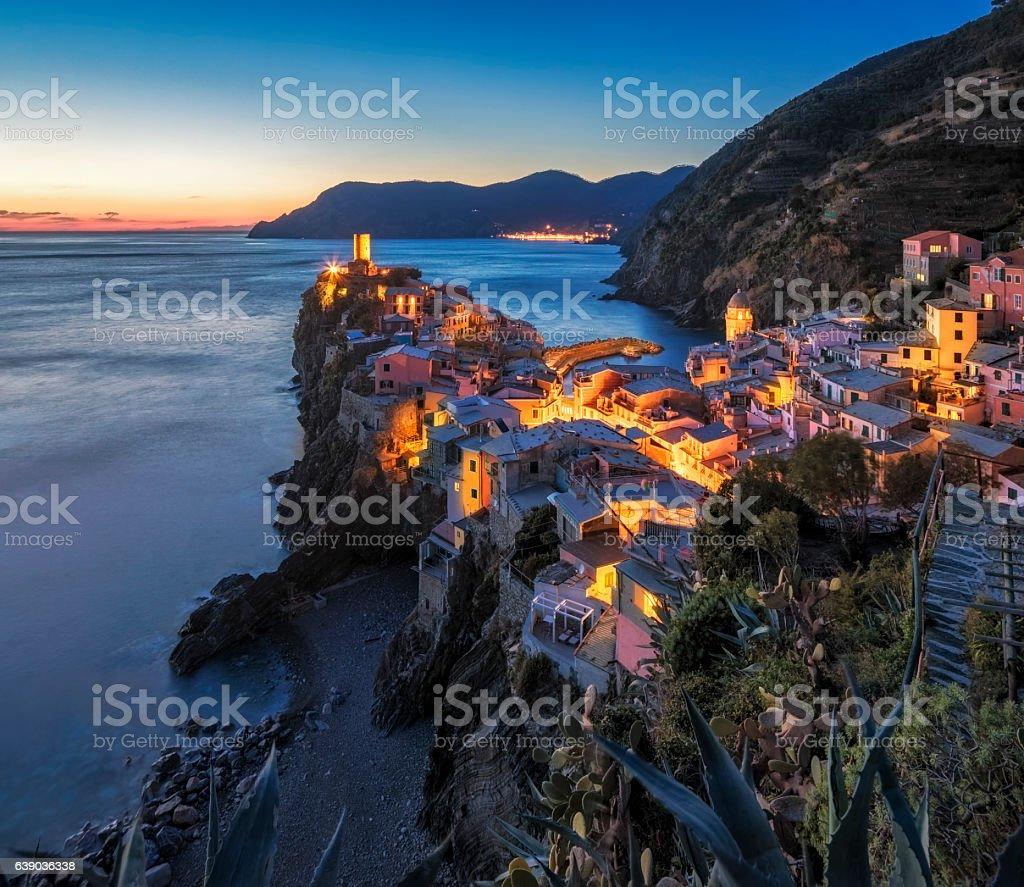 Vernazza at dawn, Cinque Terre National Park, Ligurian Riviera, Italy stock photo