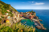 Aerial view of Vernazza at susnet. Cinque Terre. Italy