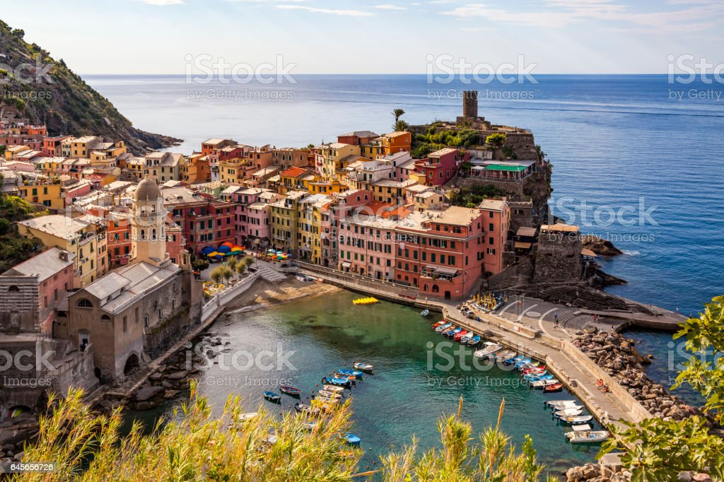 Vernazza in Cinque Terre National Park on Italian Riviera stock photo