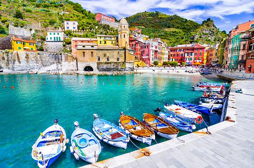 Cinque Terre, Italy - Scenic view of marina In colorful fishermen village Vernazza, Liguria
