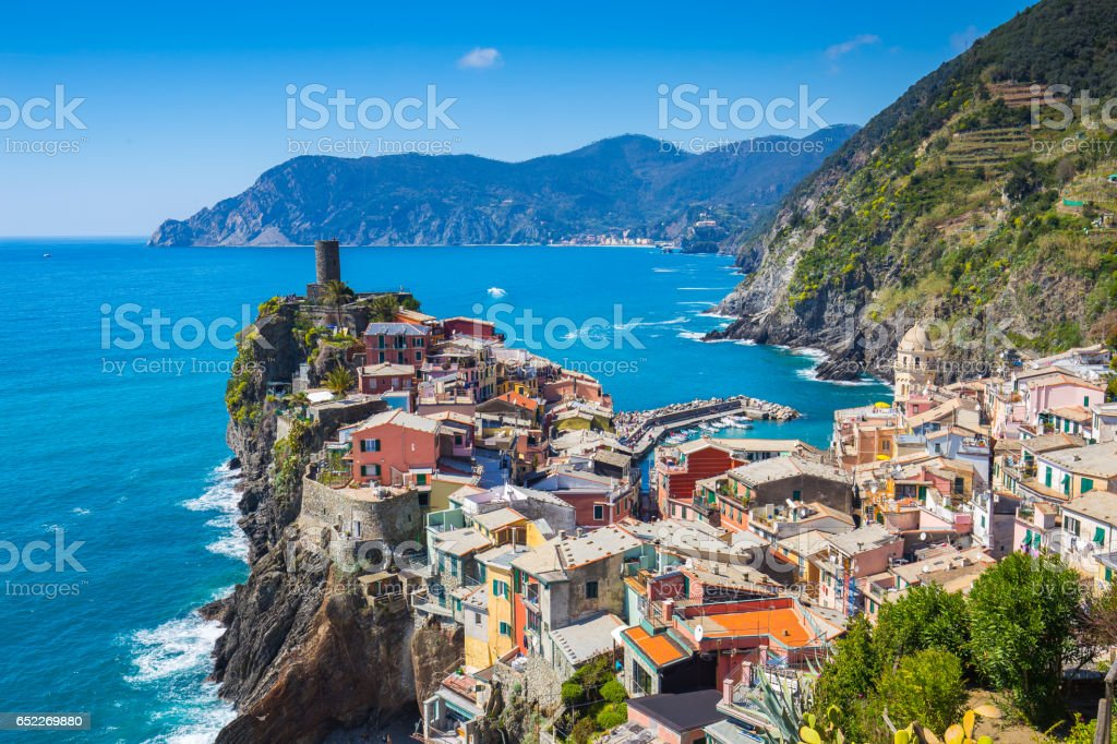Vernazza one of five famous village in Cinque Terre, Italy stock photo