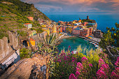 istock Vernazza panoramic view from the flowery garden, Cinque Terre, Italy 1282095418