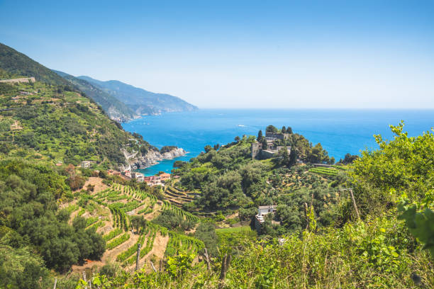 Vernazza to Monterosso summer at Mediterranean landscape, Liguria Italy Europe stock photo