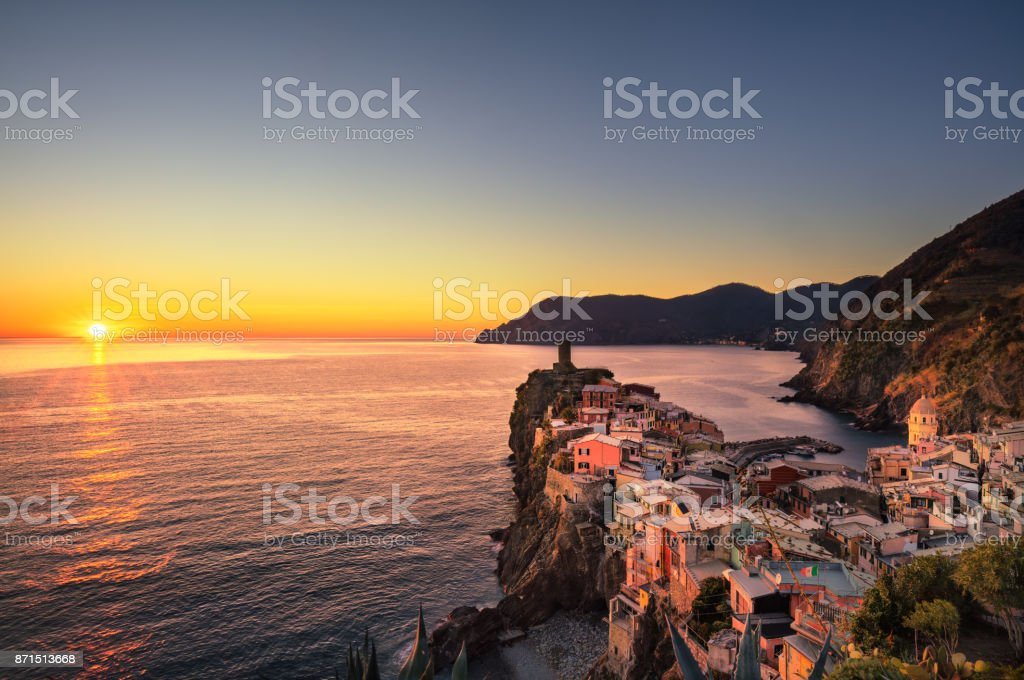Vernazza village, aerial view on red sunset. Cinque Terre, Ligury, Italy stock photo