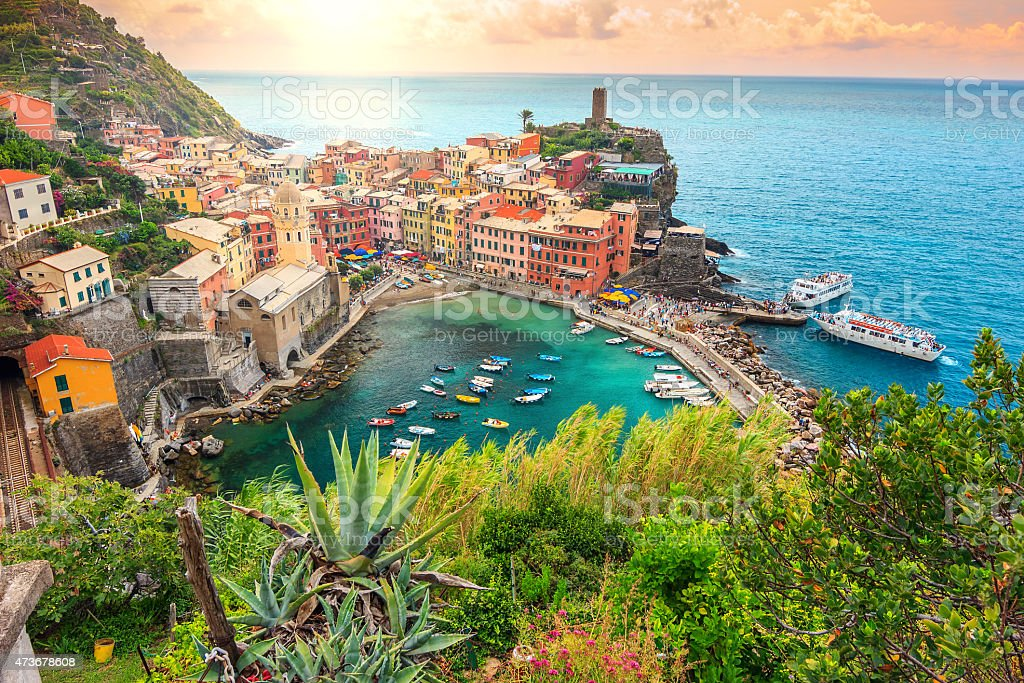 Vernazza village and stunning sunrise,Cinque Terre,Italy,Europe stock photo
