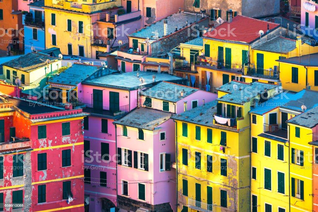 Vernazza village, buildings aerial view. Cinque Terre, Ligury, Italy stock photo